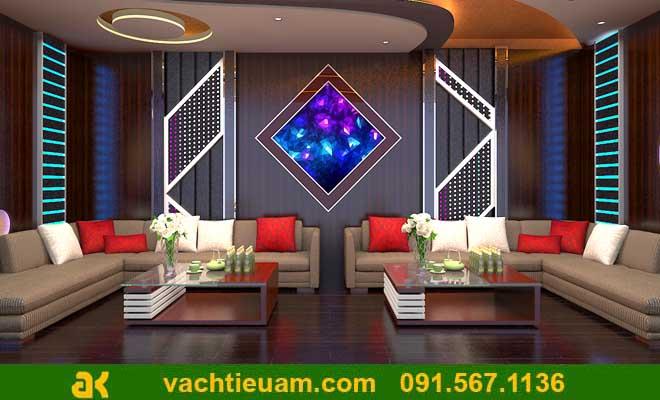 Không gian ấn tượng của phòng karaoke tại nhà với gỗ tiêu âm màu trầm